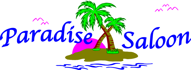 Paradise Saloon Logo Tropical Island with Trees